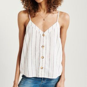 A&F Button-Front Linen Striped Cami